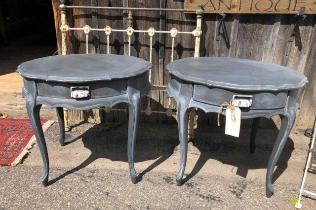 two blue weathered antique tables