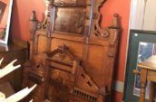 Victorian Burled walnut bed, double