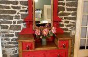 Red Farmhouse Shabby Dresser