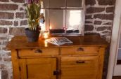 Circa 1890's pine sideboard with pull out bin