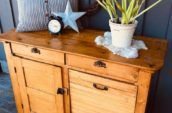 Circa 1890's primitive pine sideboard with pull out bin