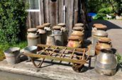 Milk cans and cart