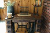 Oak sewing machine, rare with 6 drawers, works