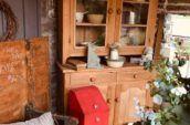 tall wooden shelf with glass doors