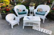 white wicker chair and table set