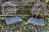 antique iron chairs