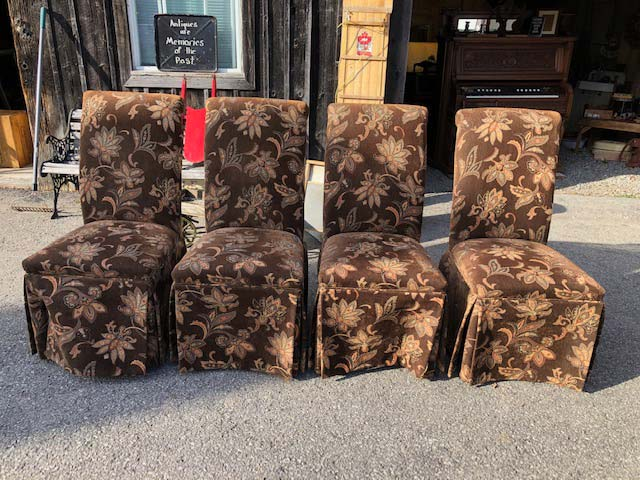 antique button-back chairs