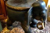 antique wooden elephant seat or table