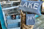 lake pillow, joy towel, small blue shelf