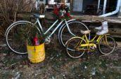 small yellow bike and big blue bike