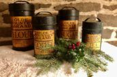 vintage flour coffee sugar and tea dark cans