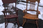 two wood rocking chairs