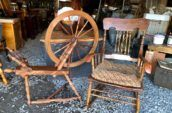 wooden rocking chair and wooden tool