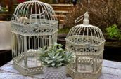 two grey bird cages
