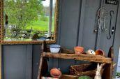 antique wooden gardening case