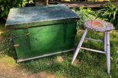 small vintage wooden box and stool