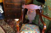 antique wooden chair and wooden dresser