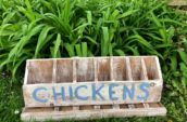 """small antique wooden organizer that says """"chickens"""" on it"""