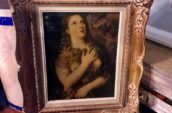 antique wooden frame with artwork of a woman