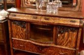 brown cabinet with glass on top