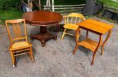 2 wooden chairs and 2 wooden tables