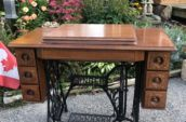 old Singer sewing machine work table