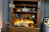 wooden cabinet with ornaments